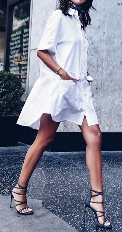 cute spring outfit idea: dress + heels