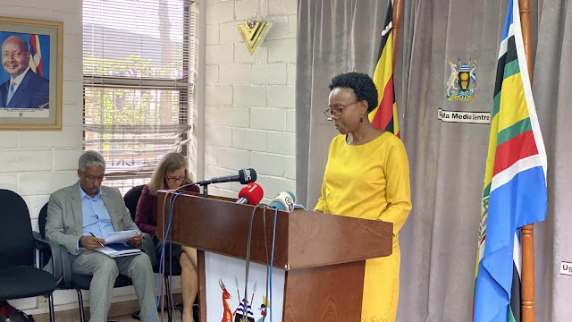 Uganda Ministry of health officials on press conference