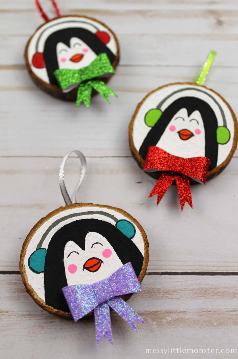 penguin wood slice ornaments
