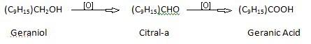 Geraniol Presence of CH2OH.