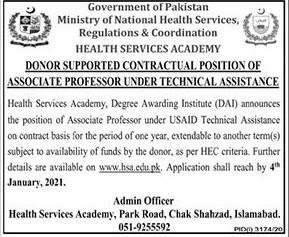 Latest Jobs: Ministry of  National Health Services Jobs 2021
