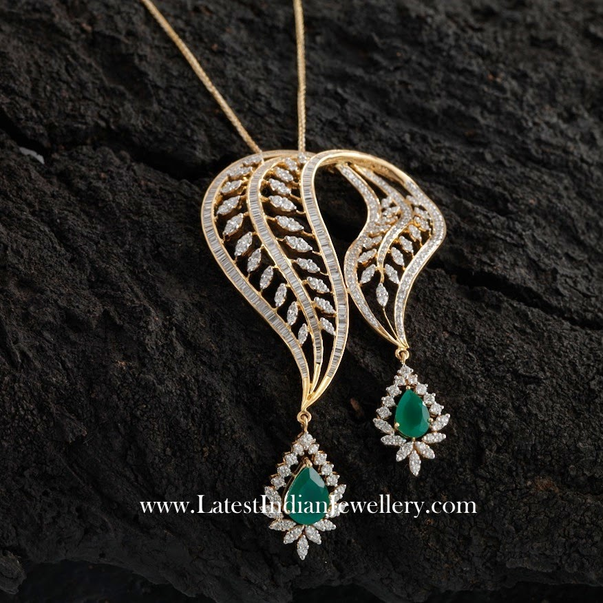 Emerald Drops Unique Diamond Locket Latest Indian