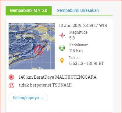 Tanggal 10 JUni 2019, Jam 23:59:17 WIB, Pusat gempa berada di 140 km Barat Daya MALUKUTENGGARA dan tidak berpotensi tsunami.