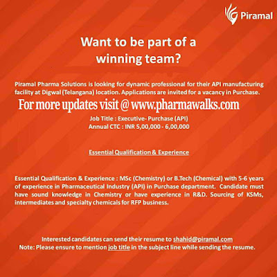 Piramal Solutions - Hiring Purchase Executive @ Hyderabad