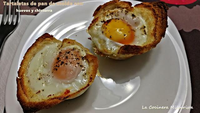 Tartaletas de pan de molde con huevos y chistorra
