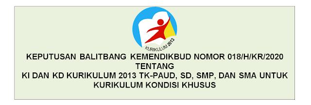 KI dan KD Kurikulum 2013 TK-PAUD, SD, SMP, dan SMA Untuk Kurikulum Kondisi Khusus Berdasarkan Keputusan Balitbang dan Perbukuan Kemendikbud Nomor 018/H/Kr/2020