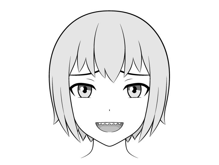 Anime gigi tajam menghadapi gambar mulut terbuka