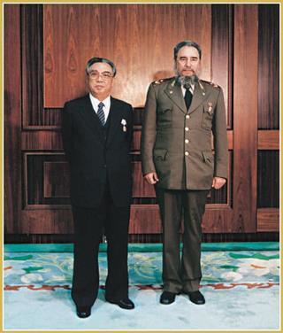 kim il sung and fidel castro ruz, march 9, 1986