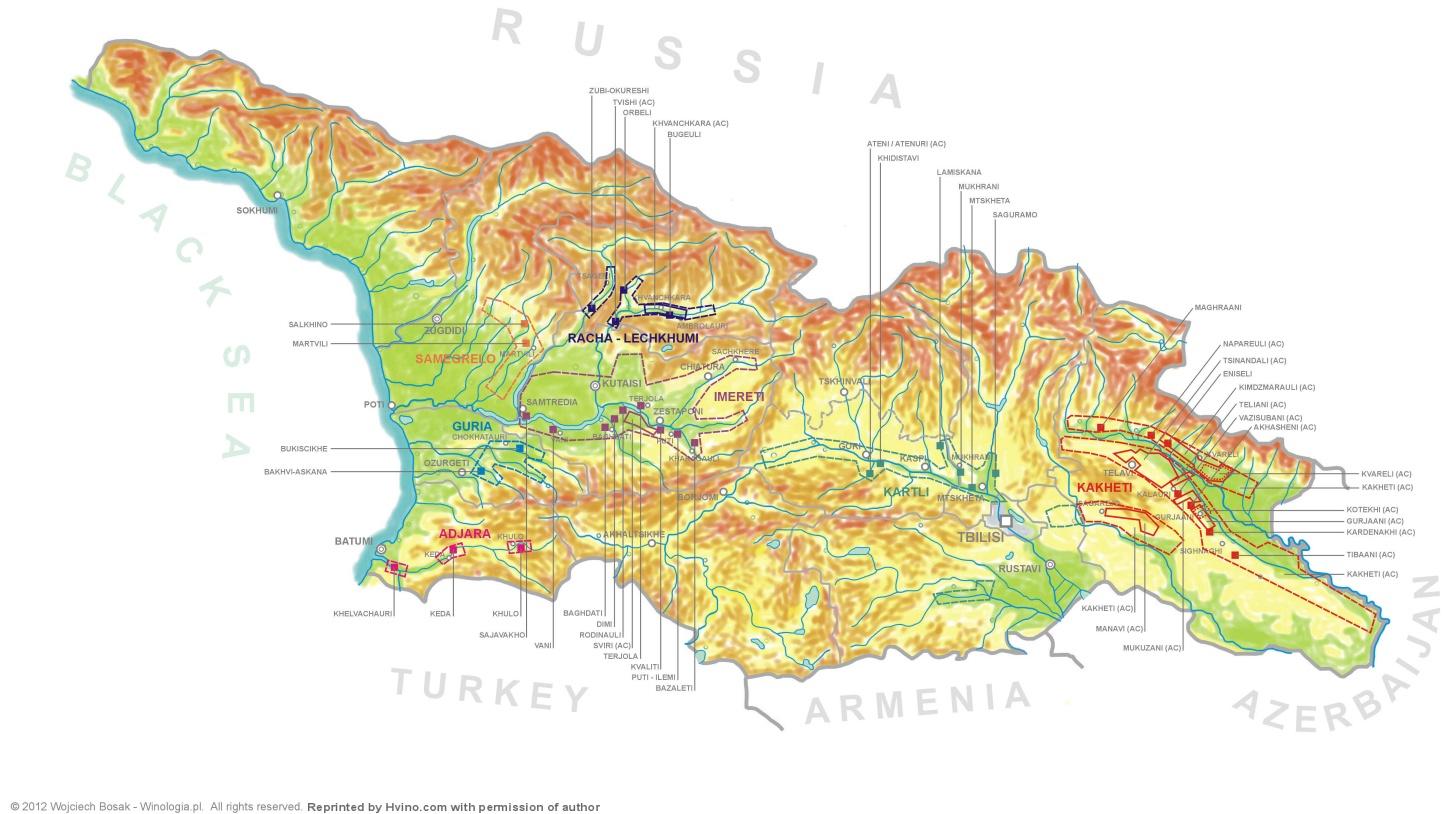 Map Of Kakheti Georgia.Hvino News Georgian Wine News Appellations