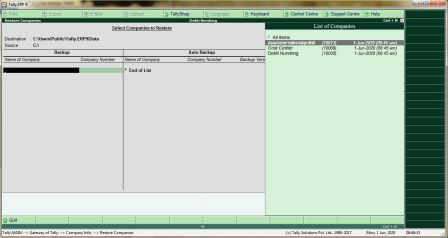 Tally मे Company का Backup कैसे ले तथा Company Restore कैसे करे?