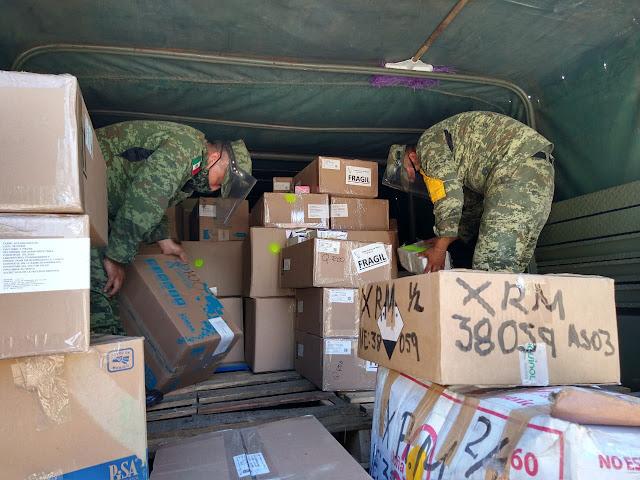 Llegan más medicamentos y equipos médicos y de protección para hospitales militares en Yucatán