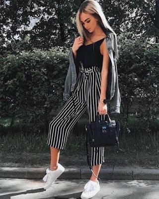 outfit juvenil con pantalón palazzo de rayas