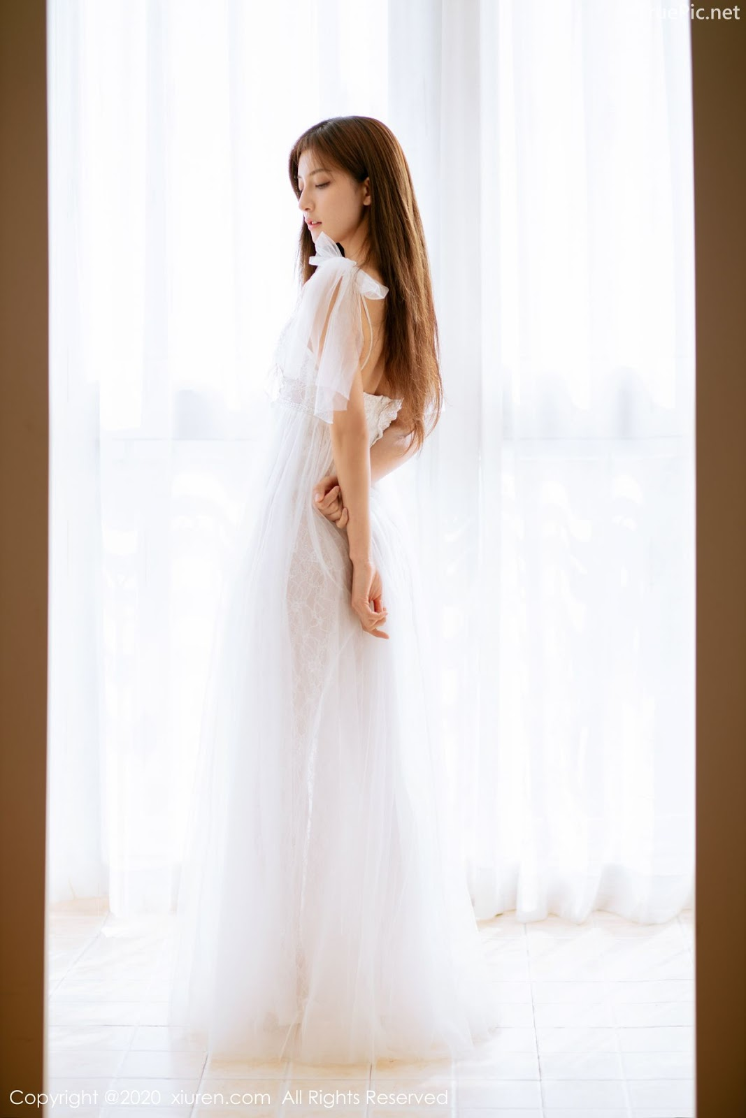 XIUREN No.1914 - Chinese model 林文文Yooki so Sexy with Transparent White Lace Dress - Picture 3