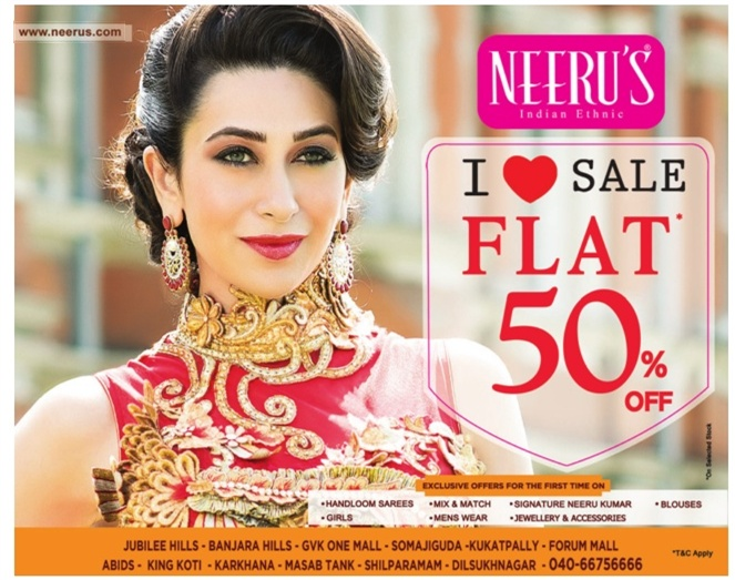 Flat 50% on Neeru's | Indian Ethnic | February 2016 discount offer.