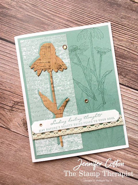 Stampin' Up! Nature's Harvest Bundle.  Card using Stampin' Up!'s Natures Harvest Bundle, Harvest Dies, Harvest Meadow Designer Series Paper (DSP), Diamond Weave Ribbon, Champagne Rhinestones, and Cork Specialty Paper!  Supply list and video link on blog!  #StampinUp #StampTherapist #NaturesHarvest