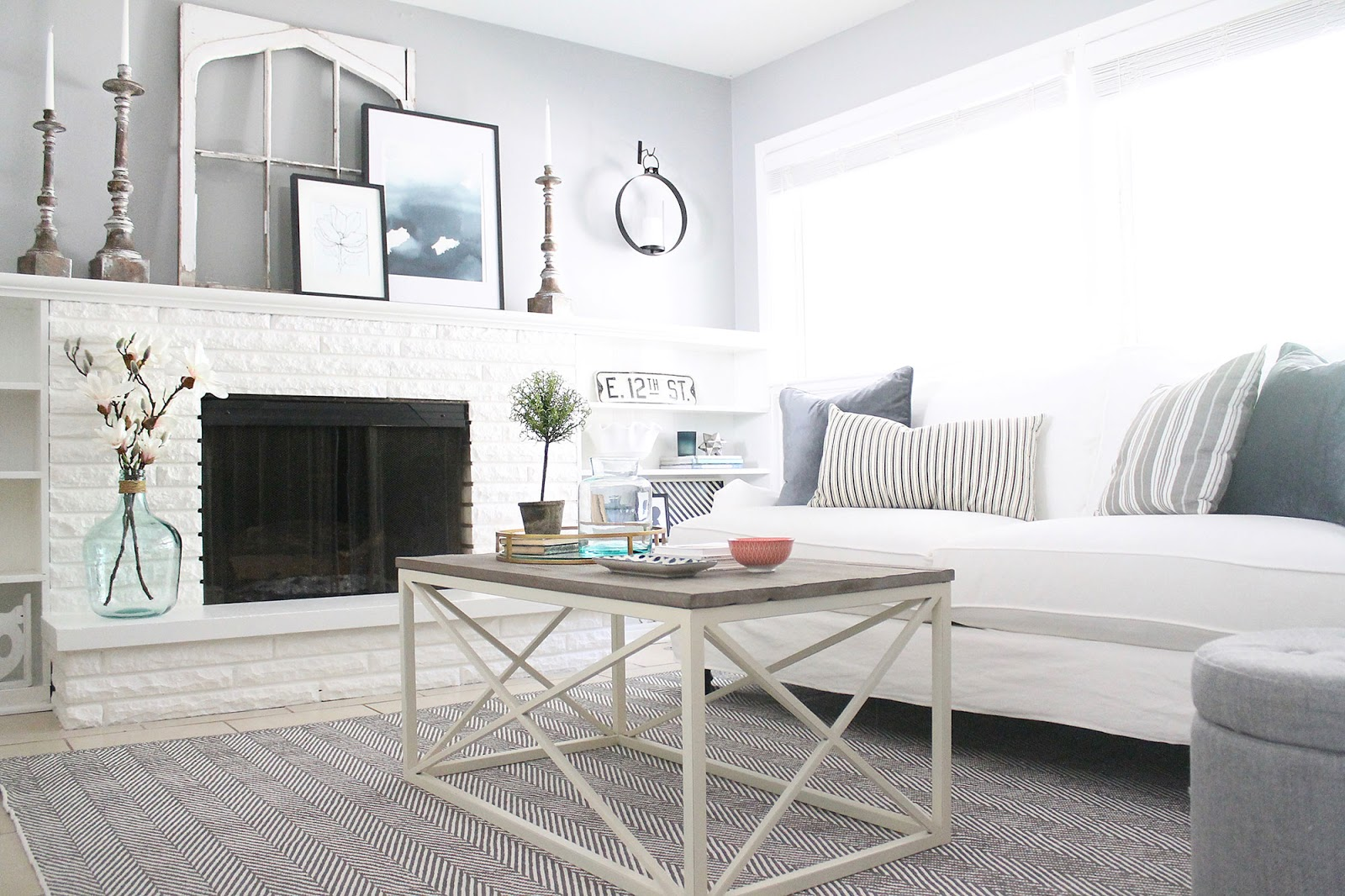 gray and white living area
