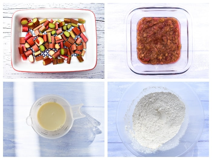 Rhubarb & Custard Pudding - Step 1 - rhubarb cooked, milk measured and flour in bowl