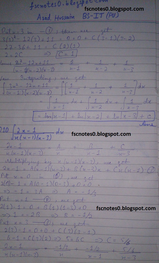 FSc ICS Notes Math Part 2 Chapter 3 Integration Exercise 3.5 question 1 - 11 by Asad Hussain 7