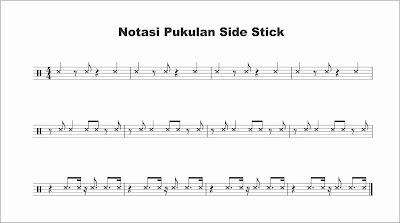 notasi snare sidestick pada not balok