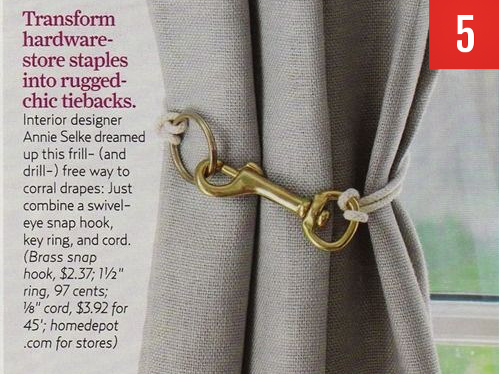 simple hardware to your curtain tie-backs