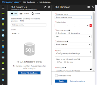 configuration settings for Azure SQL Database