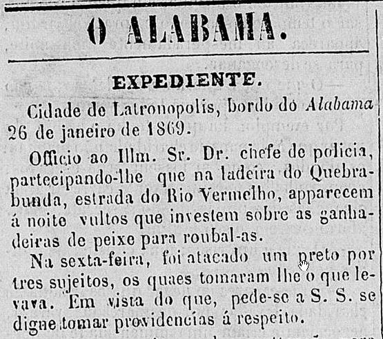 Em 1869 já se denunciava violência no bairro