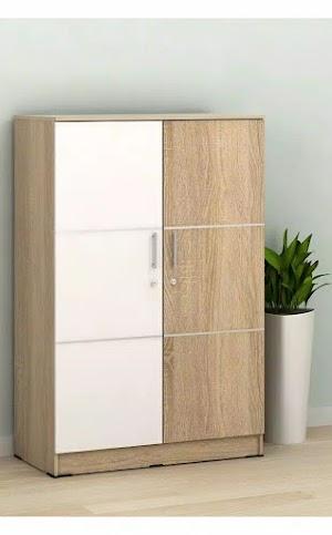 Lemari pakaian minimalis 2 pintu kombinasi warna putih sonoma oak