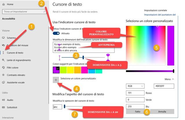 personalizzazione del cursore di testo in windows 10