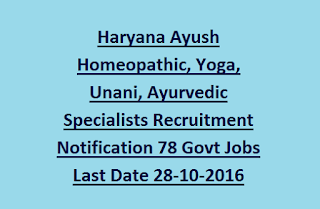 Haryana Ayush Homeopathic, Yoga, Unani, Ayurvedic Specialists Recruitment Notification 78 Govt Jobs Last Date 28-10-2016