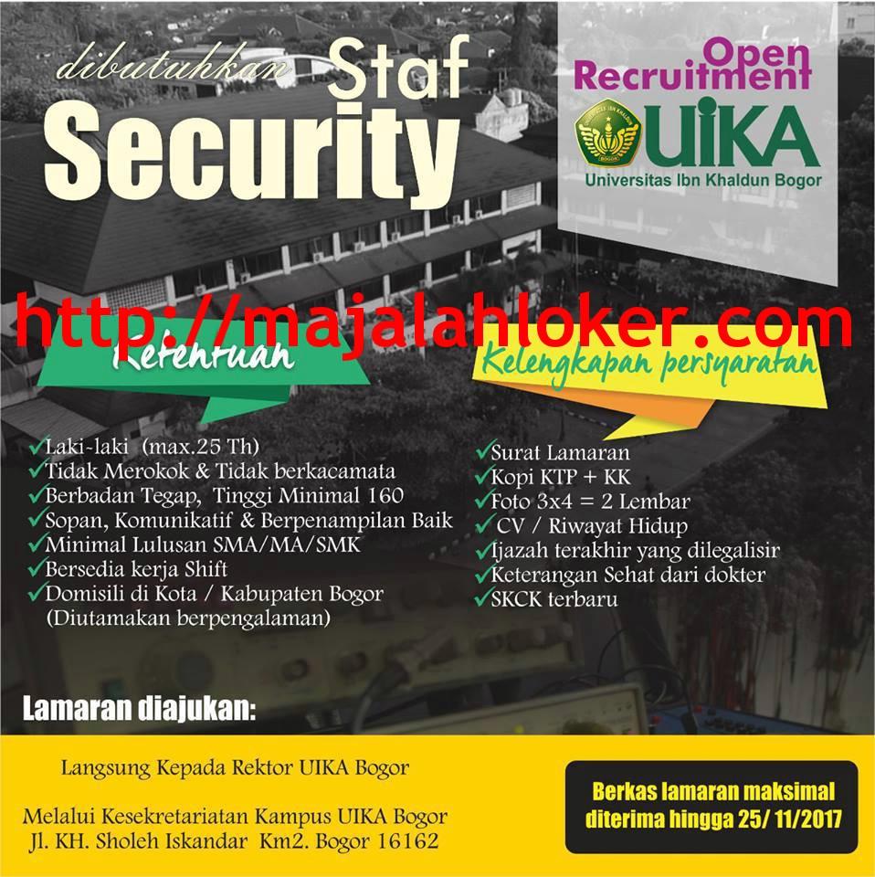 Lowongan Staf Security Universitas Ibn Khaldun (UIKA) Bogor