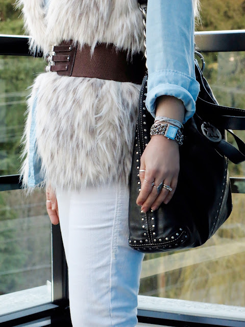 chambray shirt, white jeans, belted faux-fur vest, Michael Kors bag