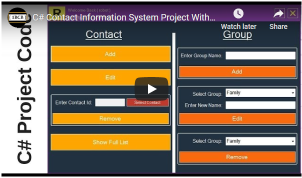 C# Contact Information Management System Source Code