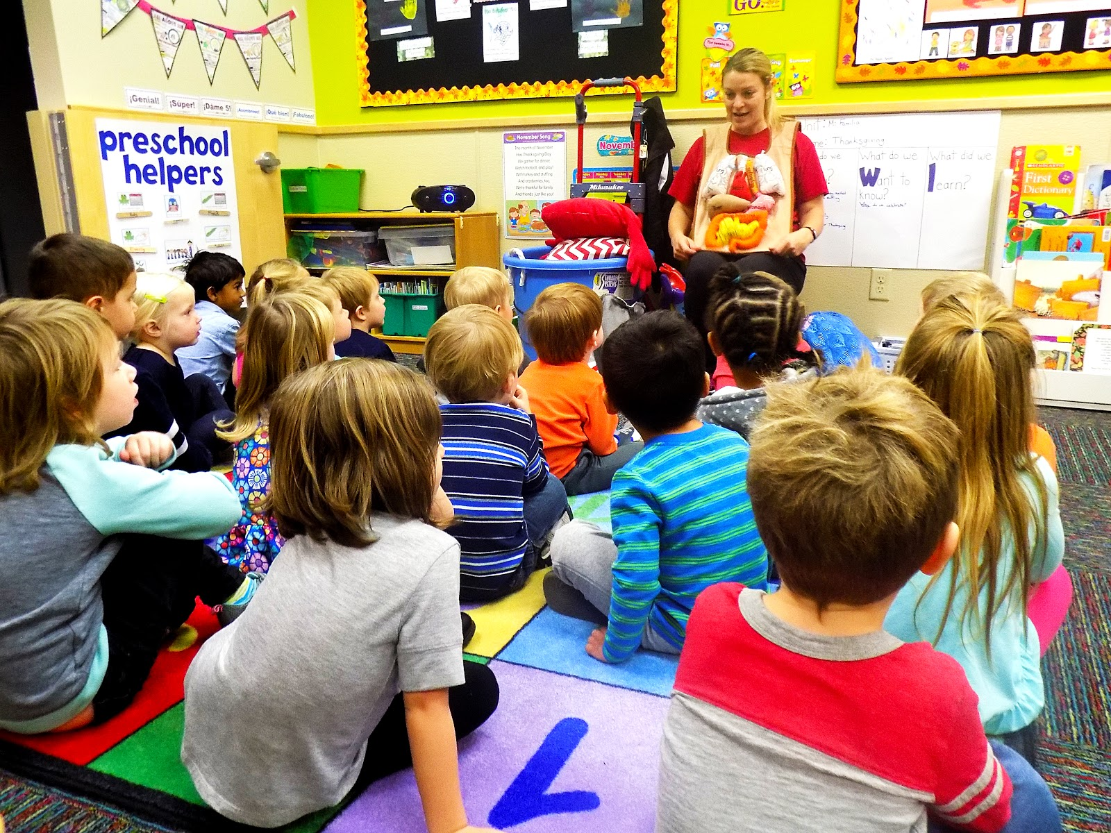 A class filled with preschool kids