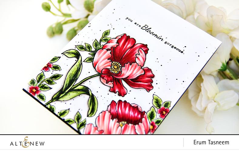 Altenew Build-A-Flower: Poppy   Artist Markers   Erum Tasneem   @pr0digy0