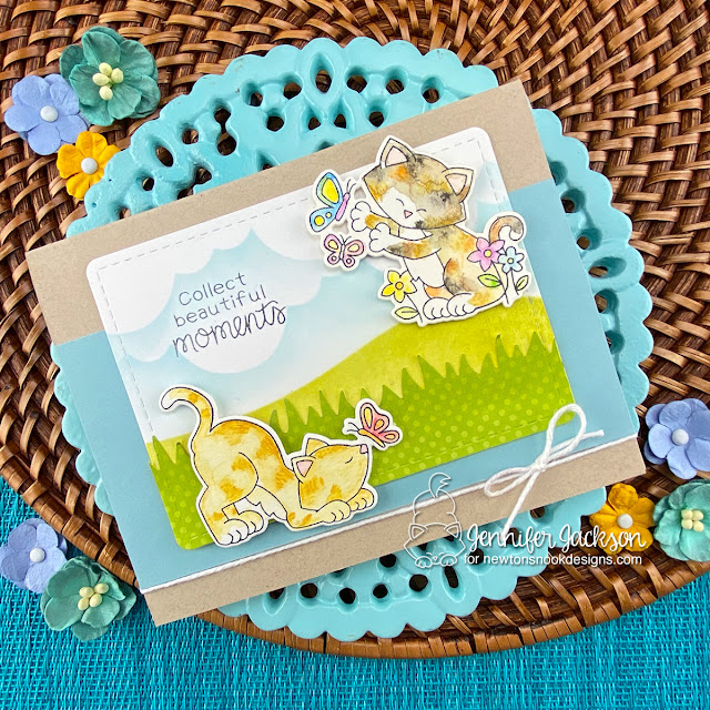 Collect Beautiful Moments Kitty Card by Jennifer Jackson | Newton's Flower Garden Stamp Set, Land Borders Die Set, Hills & Grass Stencil and Clouds Stencil by Newton's Nook Designs