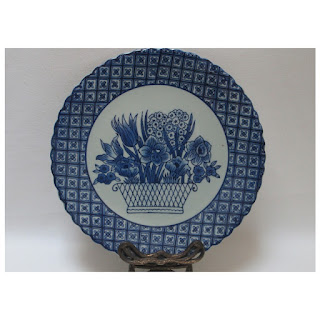 Blue China Plate with Flower Basket