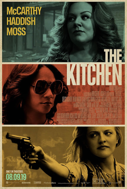 "Movie poster for New Line Cinema, DC Vertigo, and BRON Studios' 2019 crime drama ""The Kitchen,"" starring Melissa McCarthy, Tiffany Haddish, Elisabeth Moss, and Domhnall Gleeson"