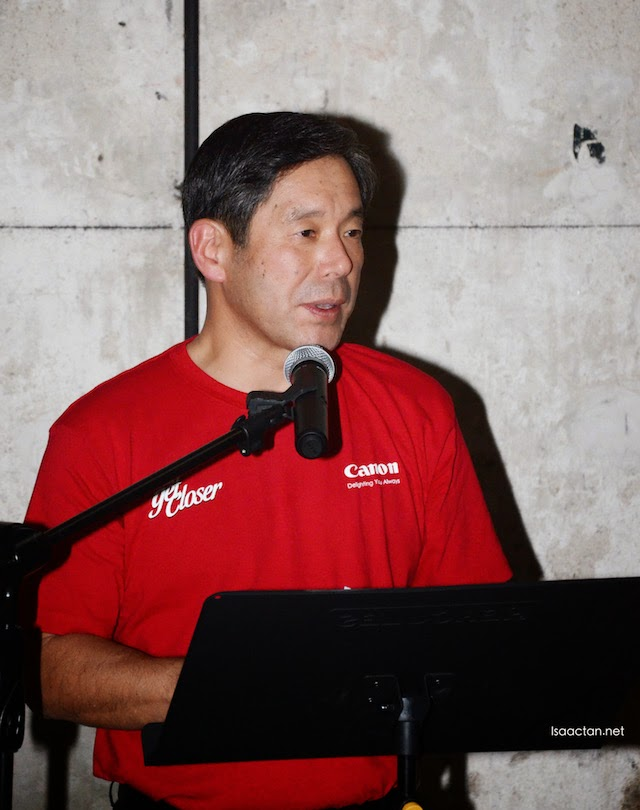Mr. Wataru Nishioka, President and CEO of Canon Marketing (Malaysia) Sdn Bhd giving the opening speech