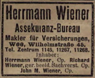 1914 Berlin address book with information for the Hermann Wiener insurance bureau