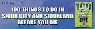 """banner with blue background that says """"Featured in 100 Things to Do in Sioux City & Siouxland Before You Die"""" and a small image of the cover of the book"""