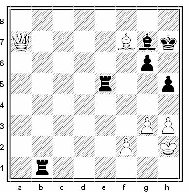 Posición de la partida de ajedrez Jan Hein Donner - Hans Bouwmeester (Wageningen Caltex, 1958)