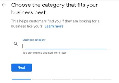 Google My Business set up next step Choose the business category that fits your business