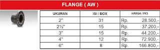 Harga sambungan pipa air pvc Rucika standard  Flange Aw