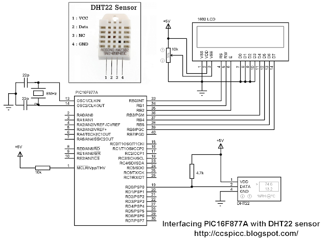 Interface PIC16F877A microcontroller with DHT22 (AM2302 - RHT03) sensor hardware circuit CCS PIC C code