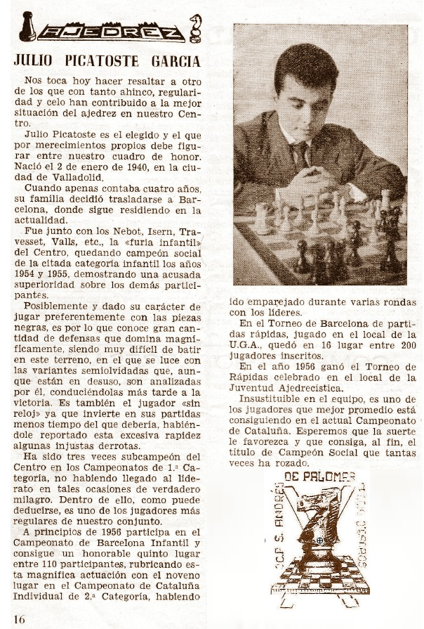 Semblanza del ajedrecista Julio Picatoste García