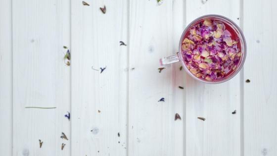 Flowers and herbs making herbal teas