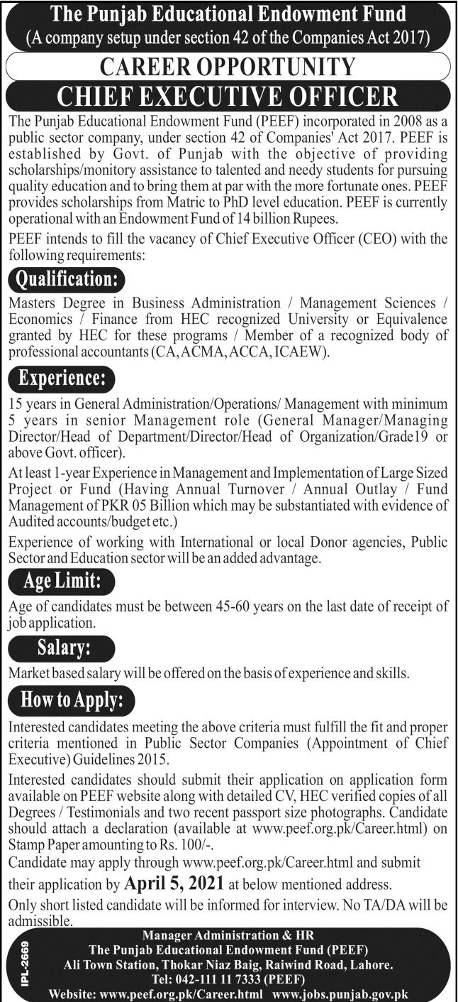 government,the punjab educational endowment fund peef lahore,chief executive offier ceo,latest jobs,last date,requirements,application form,how to apply, jobs 2021,