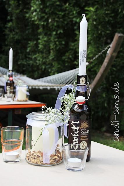 Tischdeko für Mann Bierflaschen Gartenparty