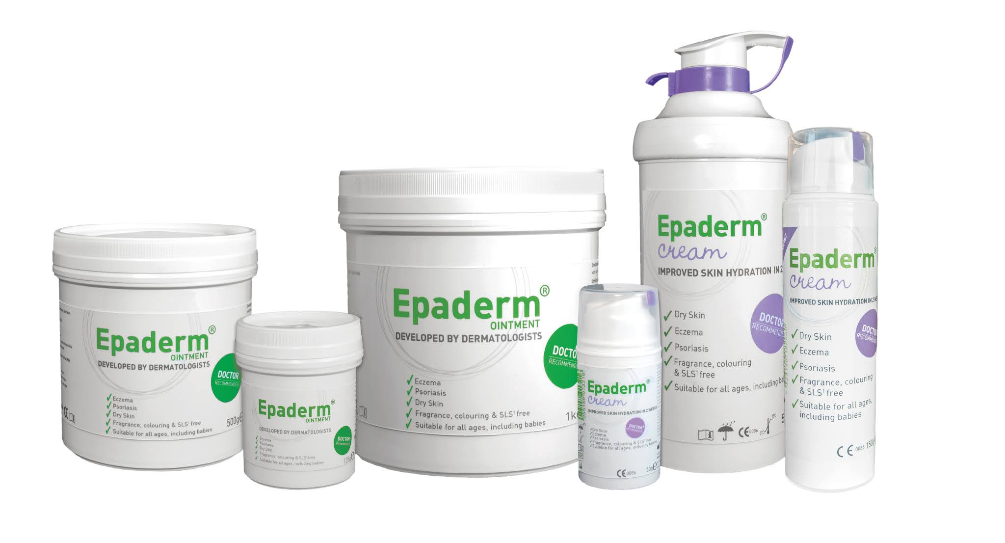 3 varying sizes tubs of Epaderm ointment and 3 tubes of Epaderm Cream
