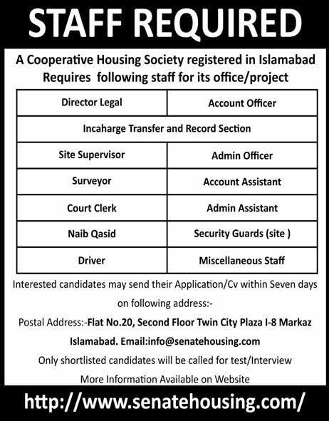 Jobs in Cooperative Housing Society Islamabad 2019